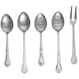 "Click here to buy Alegacy DSP13P Barocco Serving Spoon, Perforated, 13"" Package Count 12."