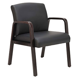 Alera® Leather Guest Chair - Black - Reception Lounge Series