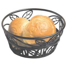 "American Metalcraft BLLB81 Bread Basket, 8"" Dia., Black Leaf Design by"