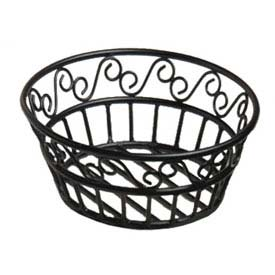 "American Metalcraft BLSB80 Bread Basket, 8"" Dia., Black Scroll Design by"