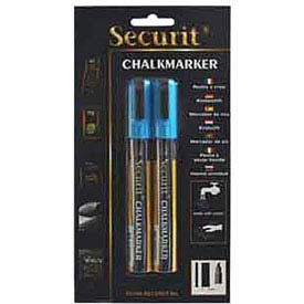 American Metalcraft BLSMA510BU - Securit Chalk Markers, Rain & Smear Proof, Blue, 2 Pack