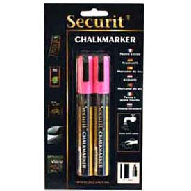 American Metalcraft BLSMA510PI - Securit Chalk Markers, Rain & Smear Proof, Small Tip, Pink