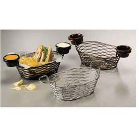 American Metalcraft BNBC962 Birdnest Basket, 9 x 6 x 3-7/8, Oblong, W/Ramekin Holder Wire... by