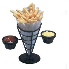 "American Metalcraft FBC92 French Fry Basket, Conical, (2) Ramekins, 9-3/8""H, Black... by"