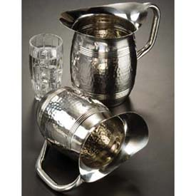 """Click here to buy American Metalcraft HMWP97 Bell Water Pitcher, 100 Oz., 8""""H, Hammered Finish."""