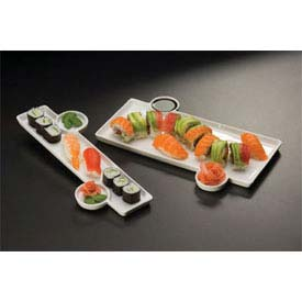 American Metalcraft PORS136 Sushi Plate, 13 x 6, With Built-In Sauce Cup, Porcelain by