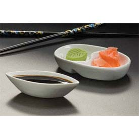American Metalcraft SDV453 Sauce Cup, Oval, Divided, Porcelain by