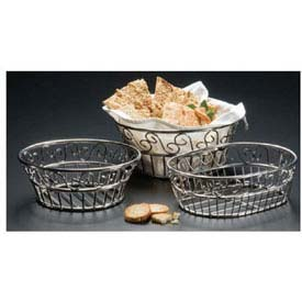 "American Metalcraft SSLB94 Bread Basket, 9"" Dia., Round, Scroll Design by"