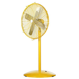 "Airmaster Fan 24"" Pedestal Yellow Safety Fan - 2 Speed Pull Chain Switch 10501K 1/3 HP 5280 CFM"