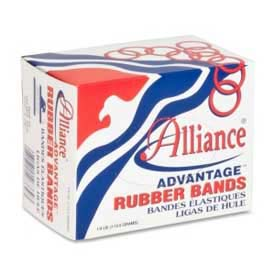 "Alliance® Advantage® Rubber Bands, Size # 33, 3-1/2"" x 1/8"", Natural, 1/4 lb. Poly Bag"