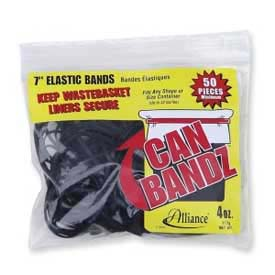 "Alliance® Can Bandz™ Rubber Bands, 7"" x 1/8"", Black, 50/Pack"