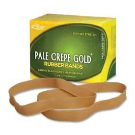 "Alliance® Pale Crepe Gold® Rubber Bands, Size # 107, 7"" x 5/8"", Natural, 1/4 lb. Box"