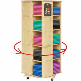 """20 Bin Rotating T-Shirt Display With Clear Front, 23-1/2""""L x 23-1/2""""W x 63""""H, Maple"""