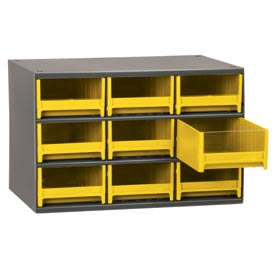 "Akro-Mils Steel Small Parts Storage Cabinet 19909 - 17""W x 11""D x 11""H w/ 9 Yellow Drawers"