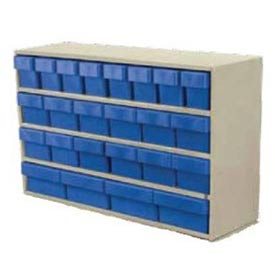 "Akro-Mils Small Stackable Putty Cabinet AD3511P w/24 Blue Akrodrawers 36"" x 11"" x 22"""