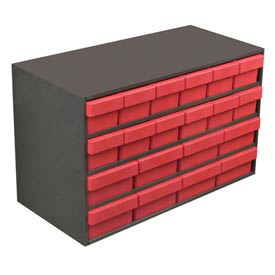 Akro-Mils Large Stackable Grey Cabinet AD3517C w/20 Red Akrodrawers 35 x 17 x 22