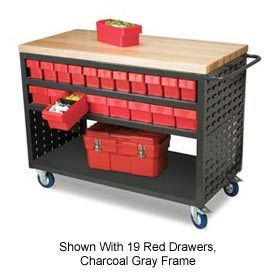 """Akro-Mils Small Putty Louvered Shelf Cart Hardwood Top MA3618P 16 Red Drawers, 49 """"L x 18 """"W x 36""""H"""
