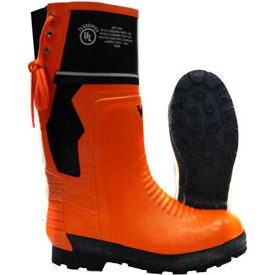 Viking Class 2 Chainsaw Boots, Orange/Black, Size 7 by