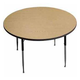 "ADA Activity Table -  48"" Diameter,  Adj. Height, Light Oak"