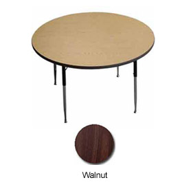 "Activity Table - Round -  48"" Diameter,  Standard Adj. Height, Walnut"