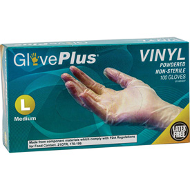 Ammex GlovePlus Powdered Industrial Grade Vinyl Gloves, Large, 100/Box, 10 Box/CS by