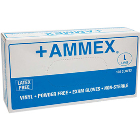 Ammex Powder-Free Exam Grade Vinyl Gloves, Large, 100/Box, 10 Box/CS by