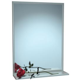 "ASI® Stainless Steel Channel Frame Mirror with Shelf - 16""Wx24""H - 0625-1624"