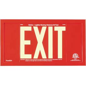 Red Aluminum Exit Sign Inside Red Aluminum Frame
