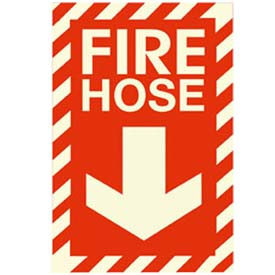 Photoluminescent Fire Hose Peel-And-Stick Self-Adhesive Sign