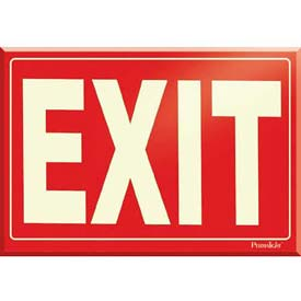 Photoluminescent Red Exit Rigid PVC Sign, Non-Adhesive