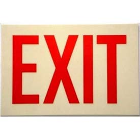 Photoluminescent Sign With Exit In Reflective Red, Rigid PVC, Non-Adhesive