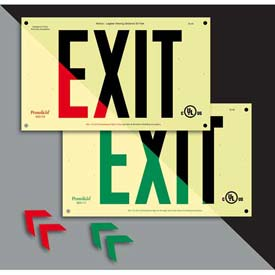 Unframed Double-Sided Photoluminescent `Green' Exit Sign - Rigid Plastic