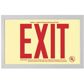 Double-Sided Rigid Plastic `Red' Exit Sign Inside Silver-Colored Brushed Aluminum Frame