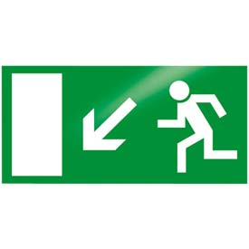 "Photoluminescent ""Man Left Down"" Peel-And-Stick Self-Adhesive Sign"