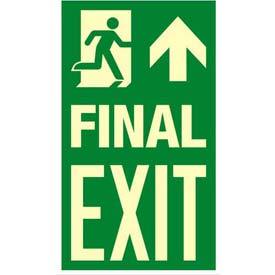 "Photoluminescent Final Exit ""Man Right/Arrow Up"" NYC Mea-Listed Aluminum Sign"