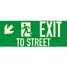 "Photoluminescent Exit To Street ""Left Down"" NYC Mea-Listed Aluminum Sign"
