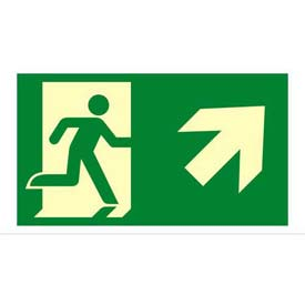 "Photoluminescent Exit ""Man Right/Arrow Right Up"" NYC Mea-Listed Aluminum Sign"