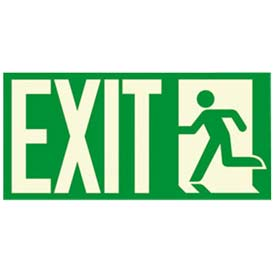 "Photoluminescent ""Man To Left Exit"" NYC-Mea-Listed Aluminum Sign"