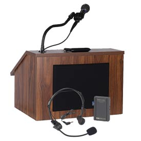 Wireless Folding Podium / Lectern with Carrying Case - Walnut