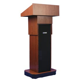 Executive Adjustable non-sound Column Podium / Lectern - Mahogany