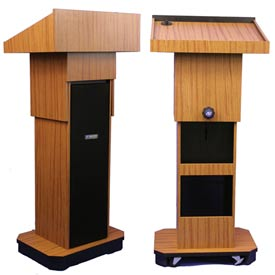 Executive Adjustable non-sound Column Podium / Lectern - Medium Oak