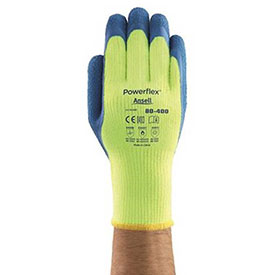 Ansell Powerflex® T Hi-Viz Yellow™ Rubber Coated Gloves, 80-400-10, 1-Pair - Pkg Qty 6