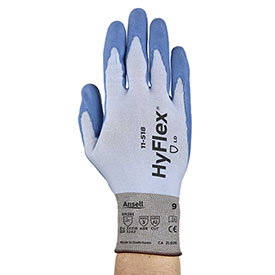 HyFlex® 18-Gauge Seamless Knit Gloves, Ansell 11-518, Blue PU Palm Coat, Size 7, 1 Pair