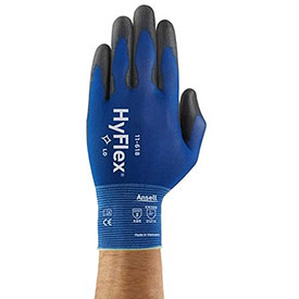 HyFlex® Light Weight Gloves, Ansell 11-618, Black PU Palm Coat, Size 9, 1 Pair - Pkg Qty 12