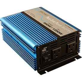 Click here to buy AIMS Power 600 Watt Pure Sine Power Inverter with Cables, PWRI60012S.