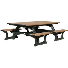 Polly Products Commons Table ADA Compliant, Cedar Top/Black Frame
