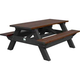 Polly Products Deluxe 6' Picnic Table, Brown Top & Bench/Black Frame