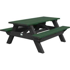 Polly Products Deluxe 6' Picnic Table, Green Top & Bench/Black Frame