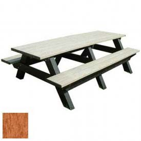 Polly Products Deluxe 8' Picnic Table, Cedar Top & Bench/Black Frame