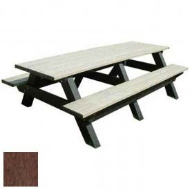 Polly Products Deluxe 8' Picnic Table, Brown Top & Bench/Brown Frame